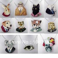 Rabbit Koala Leopard Cat Dog Elephant Eye Skull Animal good wood Fashion Necklace 11 Styles Mixed Wholesale