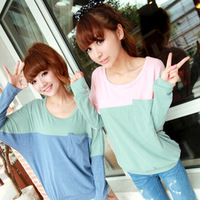 free shipping 2013 plus size loose double colorant match casual all-match basic batwing sleeve sweater