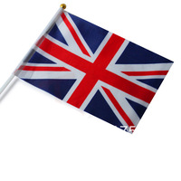 Free shipping wholesale The United Kingdom good quality small National flags with pole 14*21 cm