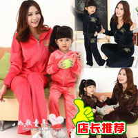 Free Ship Family fashion 2014 children spring clothing velvet set for mother or daughter or son Boy or Girl Sports 2pcs set