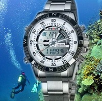 HK Post Or SG Post WEIDE Mens Silver Alloy LCD Digital Analog Sport Dive Watches 2013 30M Water Proof