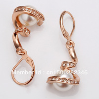 The spiral pearl  earrings Gold piated earrings for woman Romantic Support wholesale Free shopping