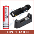 SK98 Adjustable Focus Zoom T6 LED 1200LM 18650 Battery Flashlight 3-Modes + 2 x Red 186500 Battery +1 x Universal Charger