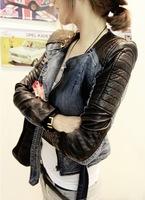 Free Shipping new Style Women Rivet Locomotive leather jacket Casual coat Slim jeans leather coat ! Black,M,L