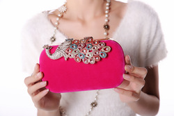 2013 new Ladies'noble full diamond Peacock Clutch bag, fashion party wedding Evening Bag, free shipping(China (Mainland))