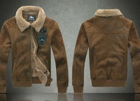 mens air force FAUX leather fur lining winter warm fleece jacket coats
