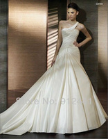 Free Shipping A line Asymmetrical neck  One shoulder Sleeveless Pleated Cathedral Floor Length Bridal Dresses with veil No.HQW13