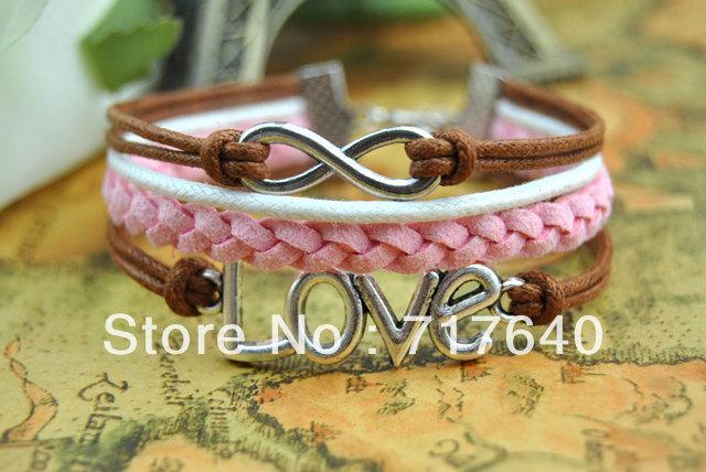 Free shipping 6pcs lot Wholesale Rasta Style Bracelet Personlized Popular Braided Leather Infinity LOVE Charm Bracelet