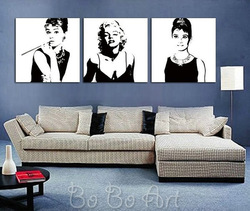 MS3_151 handmade oil painting 100% Free shipping New Hot MODERN ABSTRACT CANVAS ART pop art Marilyn Monroe, Audrey Hepburn(China (Mainland))