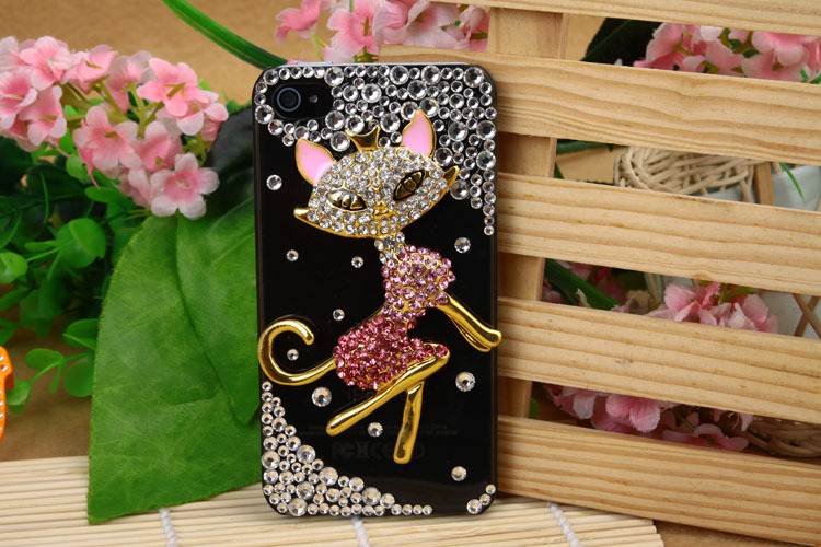 Free Shipping Fashion Back Case Cover For iPhone 4/4s Transparent female fox wholesale diamond drill case manufacturers(China (Mainland))
