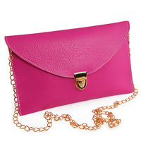 2013 Fashion star style chain envelope vintage color block day clutch bag candy color shoulder cross-body handbag free shipping