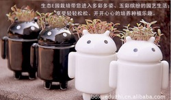 Android DIY Android robot love lovers love potted grass planting in black and white model 2pc/lots+seed(China (Mainland))