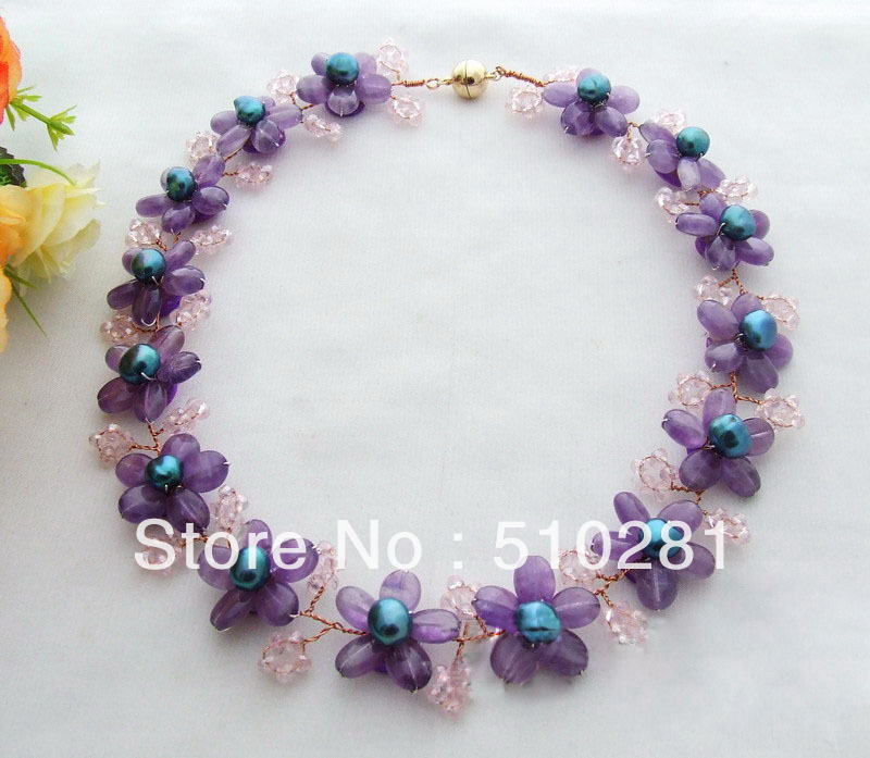 Free ship !!! amethyst pearl pink crystal garland necklace(China (Mainland))