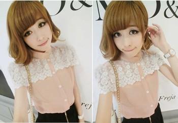 cute & sweety neck solid color chiffon t-shirt women's shirt ,women's blouse,girl's top,gree color,free shipping