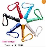 Free shipping Mini LED flashlight carabiner torch clip key keychain hiking camping 25pcs/lot