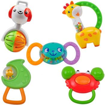 Auby toys 5 rattles, set 463133 baby handbell baby toy 5