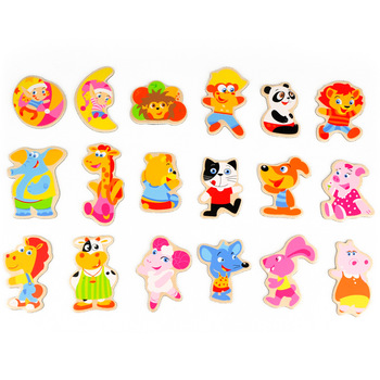 Cartoon animal refrigerator stickers magnetic refrigerator stickers wool magnetic stickers 18 animal early learning toy 15