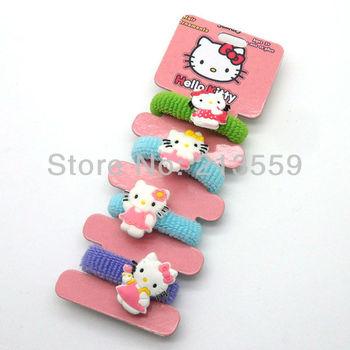 Free Shipping 10/Lot Hello Kitty 4PCS Kids Accessory Elastic Bands Wholesale