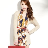 Free shipping Long Sleeve Chiffon Shawl Front Coat Outwear for Women XS