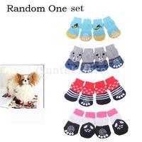 Free Shipping Paw Print Pet Dog Socks w/ Non-slip Bottom - S