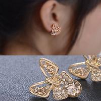 C377 delicate elegant sparkling  rhinestone butterfly stud earring beautiful  butterfly stud earring