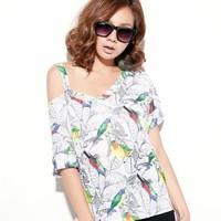 New Arrive women fashion cutout Shoulder v-neck short sleeves asymmetric hem bird print shirt Free shipping