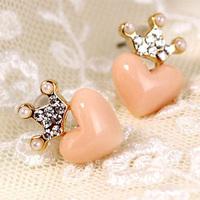 Xy209 fashion accessories fresh rhinestone love peach heart small all-match stud earring