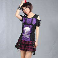 Glp 2013 punk skull heat transfer rivet decoration strapless t-shirt 71234