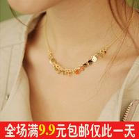 Y212 accessories gold paillette Women skull pendant necklace short design chain