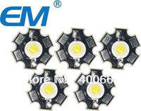 50PCS/lot 1W White High Power LED Light Emitter 6000-6500K with 20mm Star Heatsink