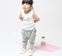 Free shipping summer girl's boy's suit,baby little cat harem pant, sleeve shirt casual trousers,infant pants,gray blue BGT-189