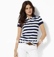 Free Shipping 2013 New Style Strip Polo Shirt For Women,Women's Short Sleeve Polo Shirt 100% Cotton Size S-XL