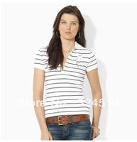 DropShip 2013  Strip Polo Shirt For Women,Women's Short Sleeve Polo Shirt 100% Cotton Horse  Embroidery ,Free Shipping