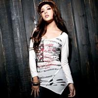New arrive Women scoop neck long sleeves star print cutout asymmetrical hem tunic shirt Free shipping