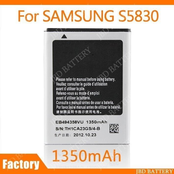 Battery For Samsung S5830 EB494358VU Galaxy Ace 5830 Batteries 1350mAh 2Pcs/Lot(China (Mainland))