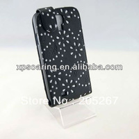 for Samsung Galaxy S4 I9500 Diamond flower leather case pouch