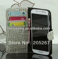 Galaxy S4 crocodile skin stand leather case pouches bag