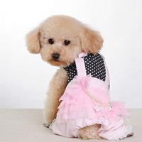 Noble gorgeous with big pearl dog clothes spring and summer dog skirt sweet powder pet clothes