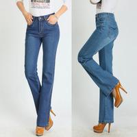 free shipping Spring light blue high elastic waist slim bell-bottom jeans plus size female denim trousers