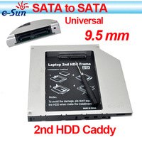 Wholesale 10pieces/lot Ultrathin slim  9.5mm/2.5'' universal Aluminum SATA-SATA 2nd HDD Caddy  Adapter for laptops Free shipping