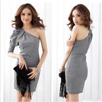 Women gray one shoulder asymmetrical 3/4 sleeve stretchy plaid decor mini dress Free shipping