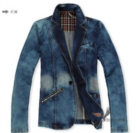 Mens Washed denim Matte white VINTAGE motorcycle Denim SUIT Jean Jacket Coat