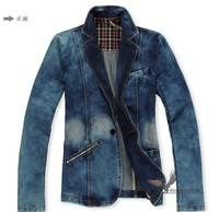 Mens Washed denim Matte white VINTAGE motorcycle Denim SUIT Jean Jacket Coat