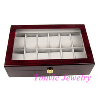 Expedited Shipping High Quality Wooden Watch Display Case Box For 12 Pcs TVI-RYWC-01