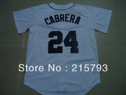 Men&#39;s Cheap Baseball Jerseys Detroit Tigers 24 Miguel Cabrera White Jersey Size:48-56 Free Shipping(China (Mainland))