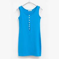 Spring new arrival 100% all-match medium-long cotton slim hip sleeveless spaghetti strap basic vest female chest strap buckle