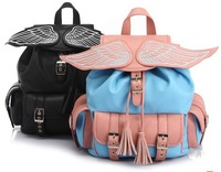 high quality New 2012 Autumn amo ayumi patchwork fashionable casual backpack leather bag, Wings decor backpack