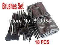 Pro Cosmetic Goat Hair Brush Tools 18pcs Black Brushes