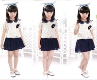 2013 Female Children Korean version summer new product,Sweet and lovely pastoral style lace short sleeve princess dress