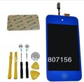 Free Shipping For iPod Touch 4 Digitizer Touch Panel + LCD Display Color Screen Replacement+ 7pcs Tool+Sticker-Dark Blue